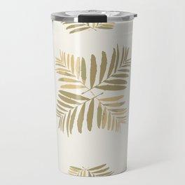 Tropical Gold leaves Home-sweet-home pattern tan metal decor buyart , Christmas ,society6 Travel Mug