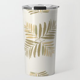 Tropical Gold leaves Home-sweet-home pattern tan metal decor buyart , society6 Travel Mug
