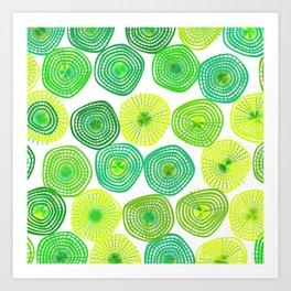 Lemon-Lime Lift Spring Abstract Art Print