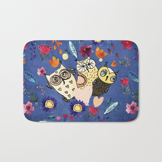 3 Wise Owls in Flower Garden at Night Bath Mat