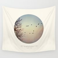 birds Wall Tapestries featuring Caged Birds by Tina Crespo