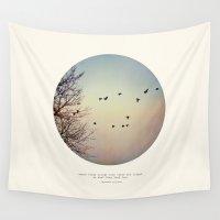 tina crespo Wall Tapestries featuring Caged Birds by Tina Crespo