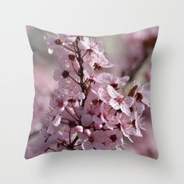 Spring Pink Cherry Blossom Flowers Throw Pillow