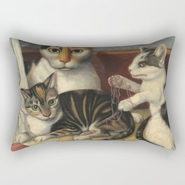 American 19th Century Cat and Kittens Oil Painting 1872 Rectangular Pillow