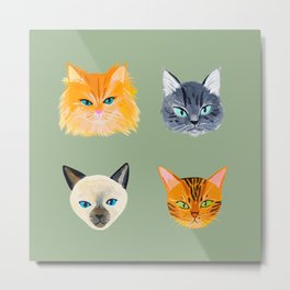 Cats Olive Metal Print
