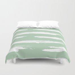 Swipe Stripe White on Pastel Cactus Green Duvet Cover