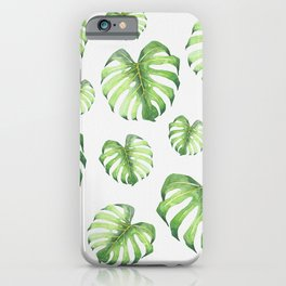 Watercolor monstera pattern iPhone Case