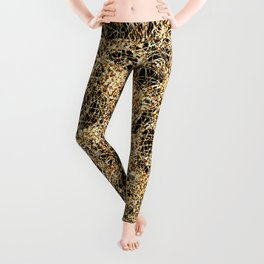 Gold Thread on Black | Abstract Brain Map 3 Leggings