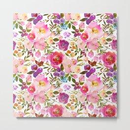 Pink violet lilac watercolor botanical floral Metal Print