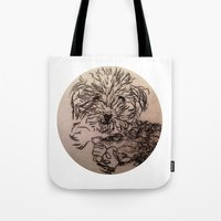 poodle Tote Bags featuring poodle by The Traveling Catburys