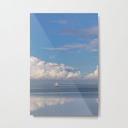 Romantic View on the Waddenzee in Holland with a Sailboat, blue Sky and white Clouds Metal Print