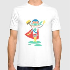 Super Hero 2 White SMALL Mens Fitted Tee