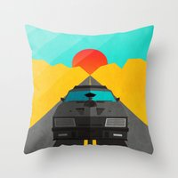 mad max Throw Pillows featuring Max is Mad by Bakus