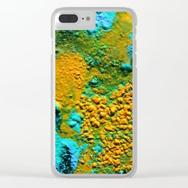 Pour Number 21:  Blue Lava with Fools Gold Clear iPhone Case