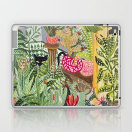 Black cat in the Garden Laptop & iPad Skin