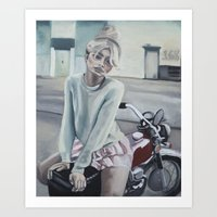 motorcycle Art Prints featuring Motorcycle by Laura Preston