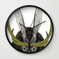 jackalope Wall Clocks featuring Jackalope by Justin McElroy