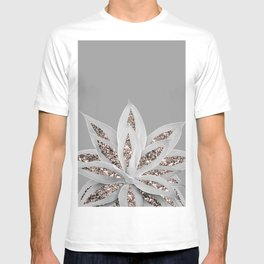 Gray Agave with Rose Gold Glitter #1 #shiny #tropical #decor #art #society6 T-shirt