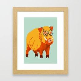 Benevolent Funny Boar Pig Framed Art Print