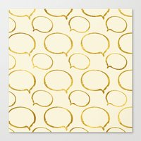 gold foil Canvas Prints featuring Cream Gold Foil 01 by Aloke Design
