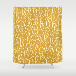 faces / mustard Shower Curtain
