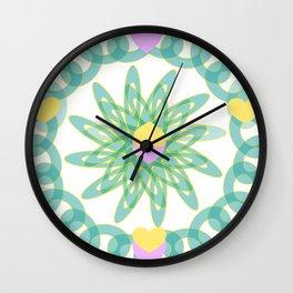 Tropical Pastel Hearts Wall Clock