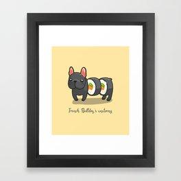 French bulldog maki sushi Framed Art Print