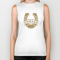 onward Biker Tanks featuring Onward Horseshoe by Mortar Made