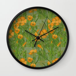California Poppiess - Vintage inspired print - green orange blue Wall Clock