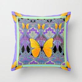 Pastel Lilac yellow butterflies Art Nouveau Design Throw Pillow