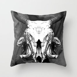 SquidBull Skull Throw Pillow