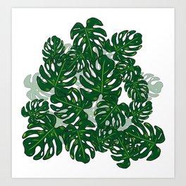 Monstera Leaves Tropical Pattern Art Print