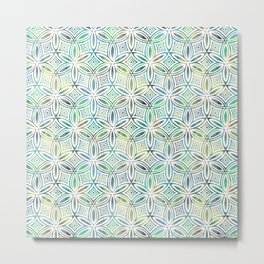 Floral Elegant Tribal Pattern (Lime Mint Dark Greens) Metal Print