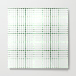 Dotted Grid Weave Green Metal Print