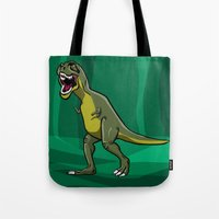 t rex Tote Bags featuring T-Rex by Janusz Kali Kaliszczak