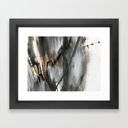01025 [2]: a neutral abstract in gold, black, and white Framed Art Print