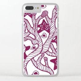 Seaweed, coral and starfish ornament Clear iPhone Case
