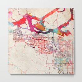 Antioch map California painting square Metal Print