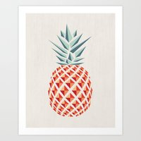 facebook Art Prints featuring Pineapple  by basilique