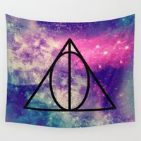 deathly hallows Wall Tapestries featuring The Deathly Hallows by Abby Gracey