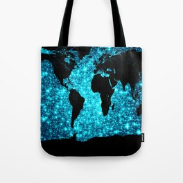 wOrld map Turquoise Sparkle Tote Bag