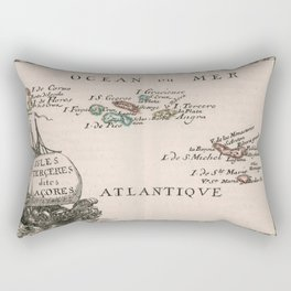 Vintage Map of The Azores Islands (1682) Rectangular Pillow