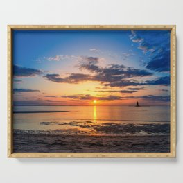 Sunset at Breakwater Lighthouse on the Beach of the Bay Serving Tray
