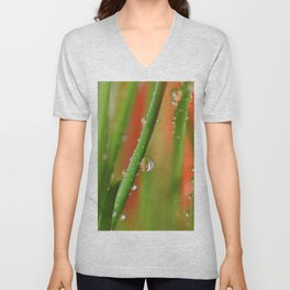 Grass with water drops 35 Unisex V-Neck