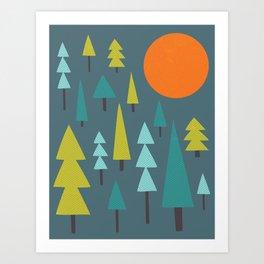 Trees & Night Moon Art Print