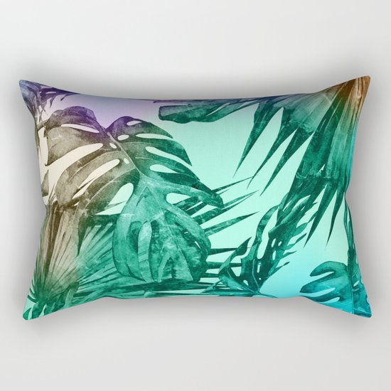 Simply Palm Leaves in Hologram Island Green Rectangular Pillow