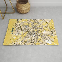 Rome Yellow City Map Rug