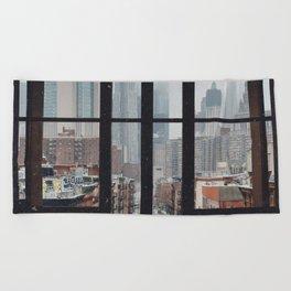 New York City Window Beach Towel