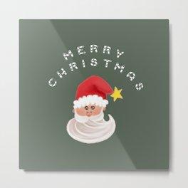 Merry Christmas & Santa - Green Metal Print