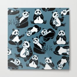 Panda Bamboo Stick And Leaves Seamless Pattern Metal Print